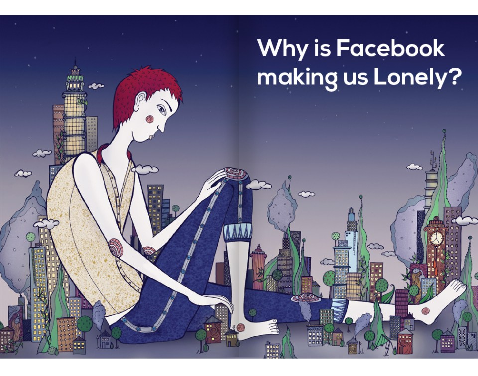 article on loneliness caused by social media illustration