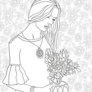 girls, coloring page, olivia linn, drawing