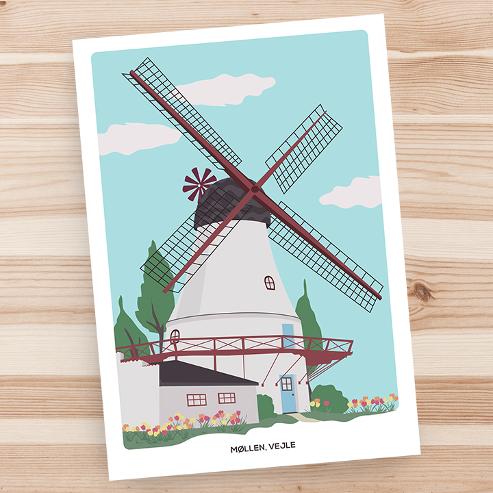 Vejle møllen, city cards, Denmark, greeting card, art print by Olivia Linn