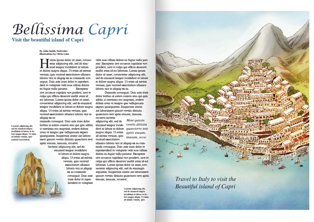 Travel journal magazine page, illustration