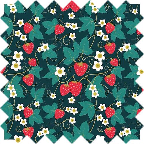strawberry pattern textile design by Olivia Linn