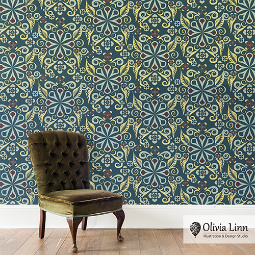 Vintage wallpaper design by Olivia Linn