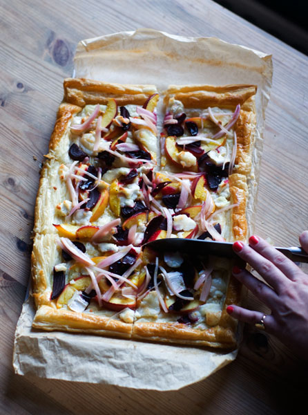 savoury summer tart beetroot nectarine goats cheese pickled shallots puff pastry