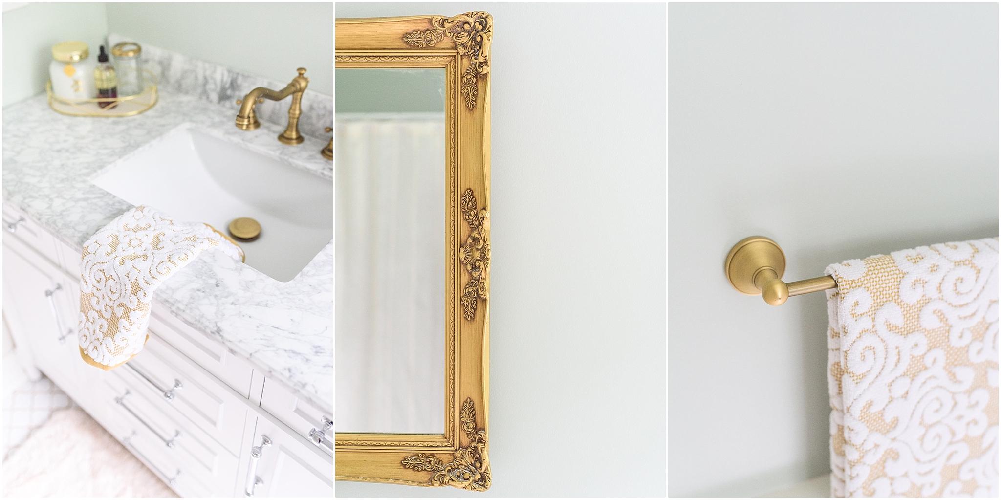 Classic Sea Salt and Gold Master Bathroom Renovation