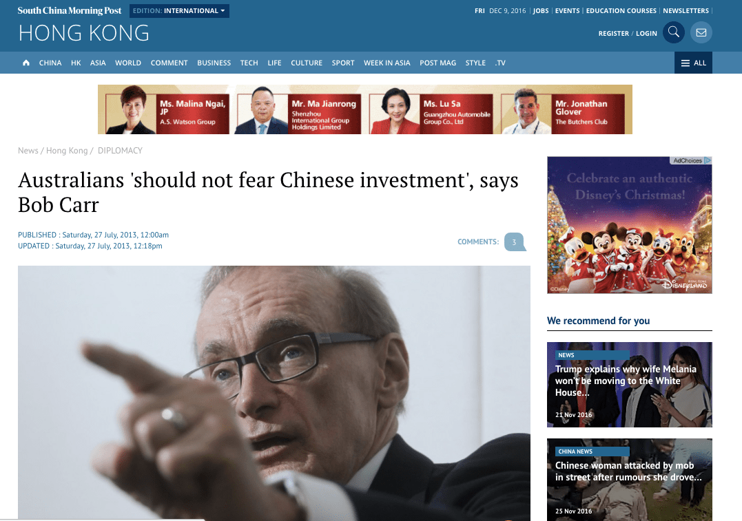 Australians 'should not fear Chinese investment', says Bob Carr – South China Morning Post