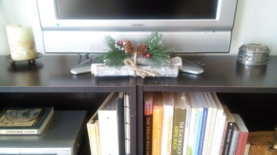 At night I like to sometimes pull up my Roku channel that has a fireplace loop on it, and I set this little bundle of twigs under my small TV to add to the mood.