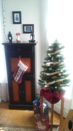 Here you can see my tree, and next to it is my altar cabinet, closed up. My mother gave me the noel stocking years ago.