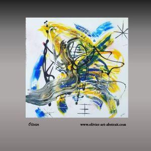 Chloris Tableau abstrait coloré tableau jaune