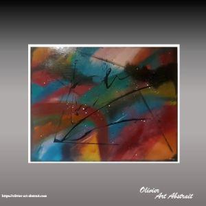 olivier art abstrait tableau abstrait multicoloreillapu