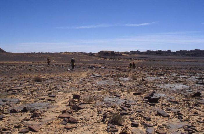 Les austères premiers kikomètres du plateau des Ajjer, le 11 mars 2006