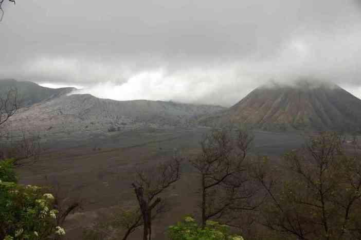 La caldeira du Tengger et le volcan Bromo vus depuis notre hôtel, le 18 juillet 2007