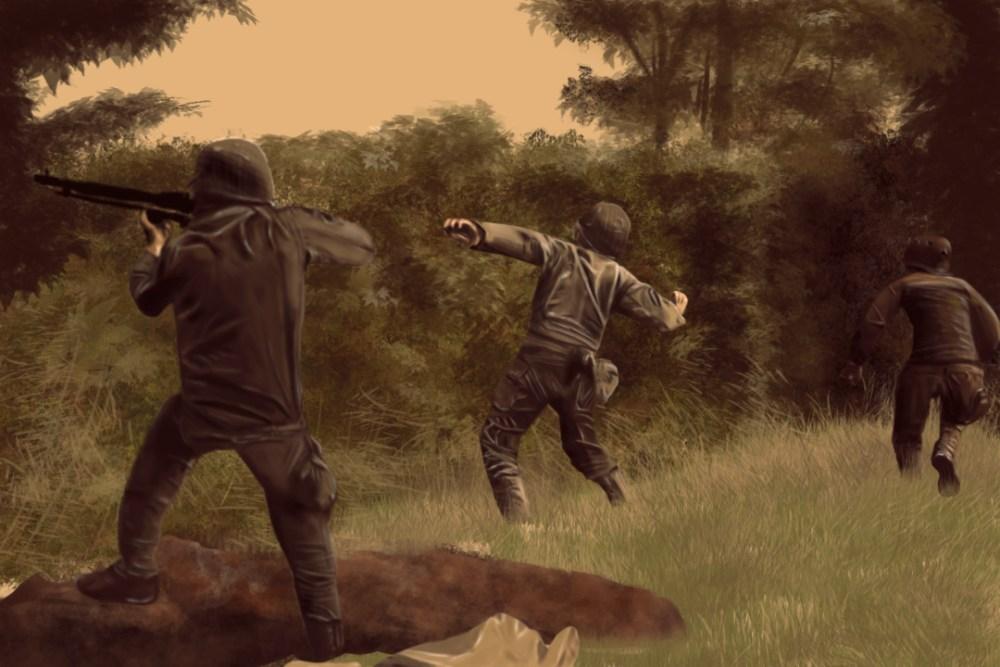Etude painting scene de guerre