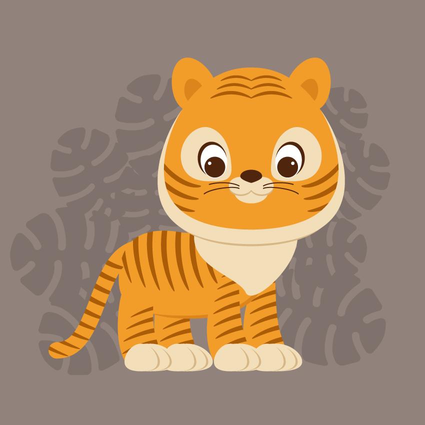 Create a Cute Cartoon Tiger