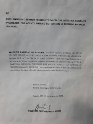 Valdecir Cardoso de Almeida - Ofício Câmara de Cuiabá