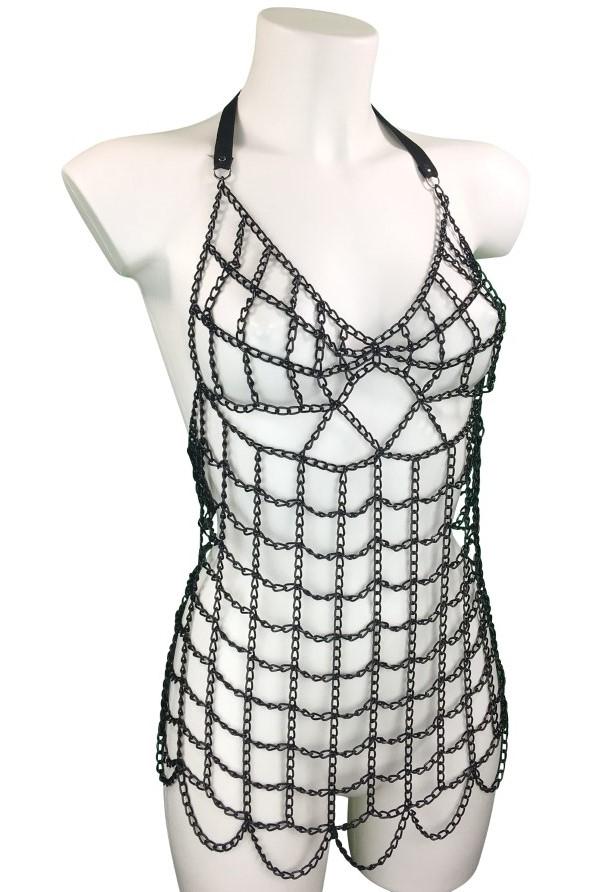 Dress Cocolina - black leather, black chain