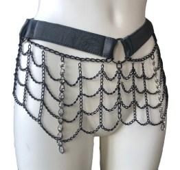 Belt Gaga Glam - black leather, black chain