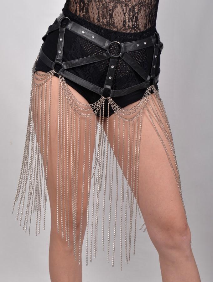 Belt Gaga Long - black leather, silver chain