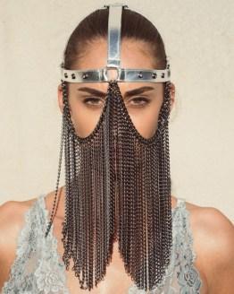 Face Mask Gaga - silver leather, dark silver chain