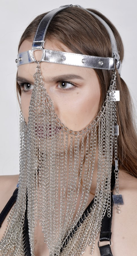 Face Mask Gaga - silver leather, silver chain
