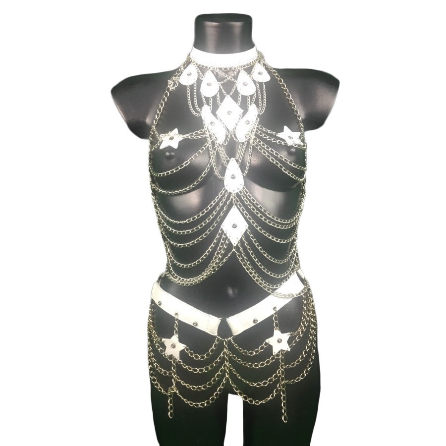 Set Paris - white leather, silver chain