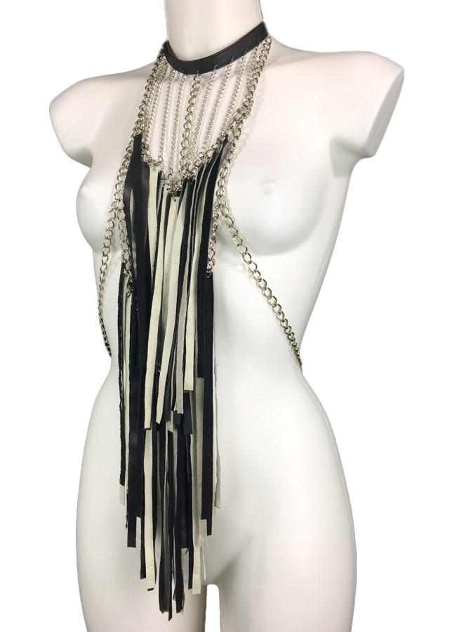 Top Roma - black and white leather, silver chain
