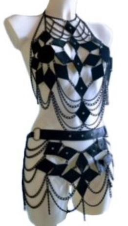 Top Farfala - black leather, black chain