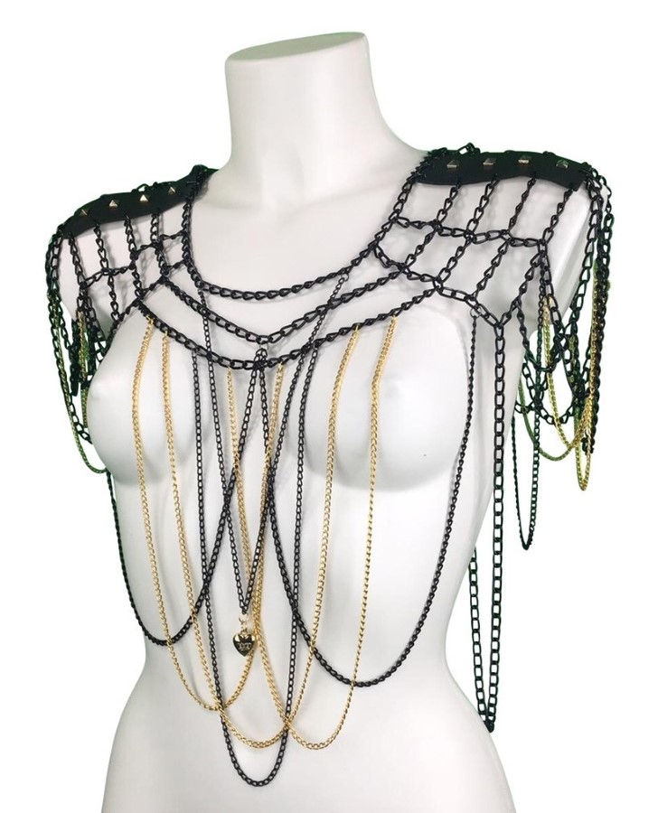 Top Gotique - black leather, black and gold chain