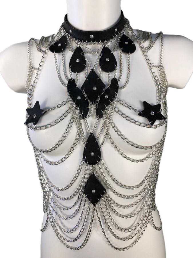 Top Paris - black leather, silver chain