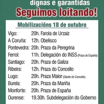 Pensionistas e xubilados mobilizaranse este xoves en cidades e vilas galegas