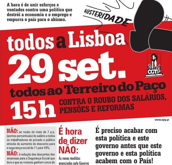 """""""Todos a Lisboa contra o roubo dos salários, pensões e reformas"""""""