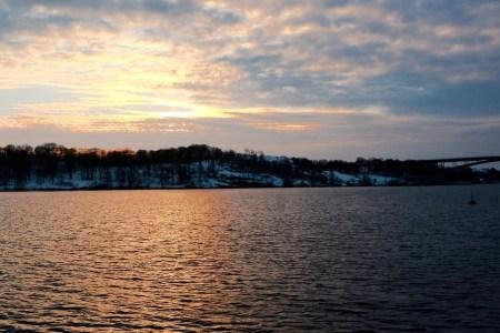 winter sunset, 2:49 pm