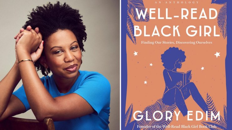Photo of Glory Edim and the cover of her book