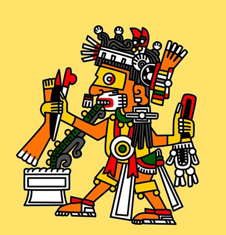 Drawing of an Incan god
