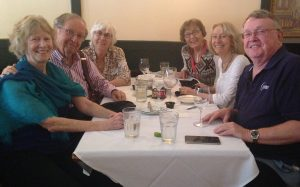 Six people at a restaurant table