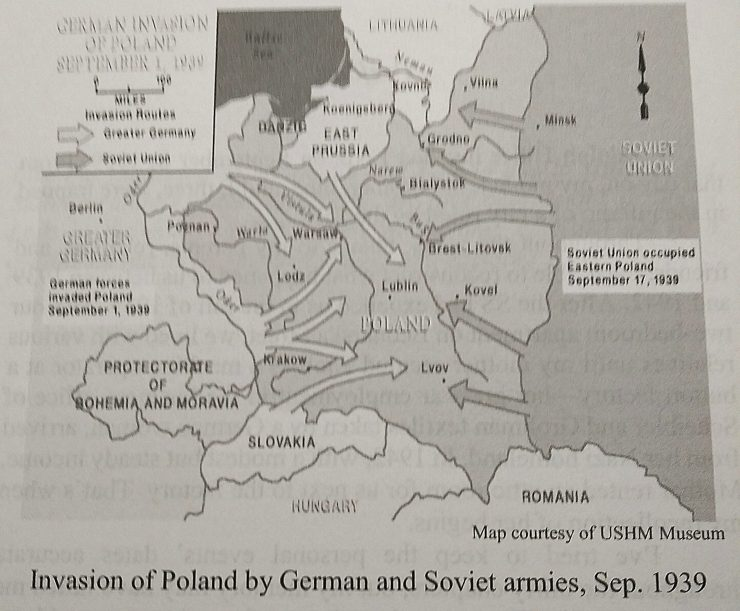 Map of the invasion of Poland in 1939