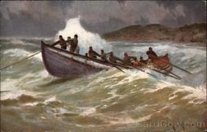 Men in small boat in heavy waves