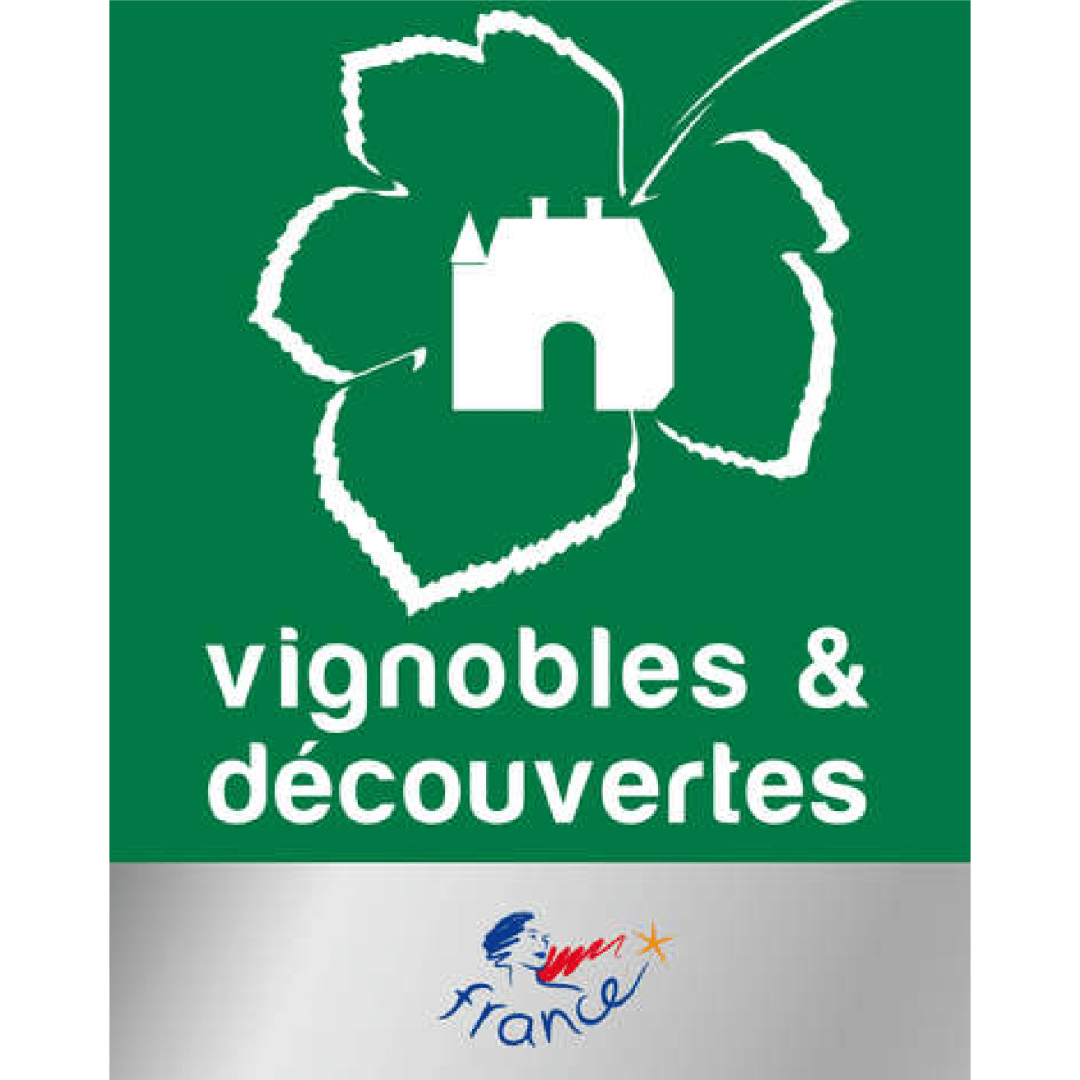 The logo of the vineyard and discovery label