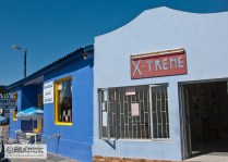 Buildings in azure and carolina blue in Port Nolloth. - South Africa 2008