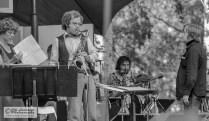 The band leader in 1976 was Esko Linnavalli (right). Eero Koivistoinen played tenor sax. Maija Hapuoja is sorting her song scores. At the back Mircea Stan (tb).