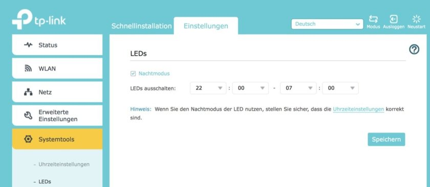 TP-Link RE500 LED-Einstellungen