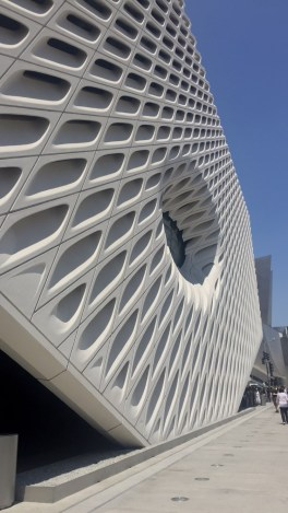The Broad museum, view of the architectural veil from Grand Ave