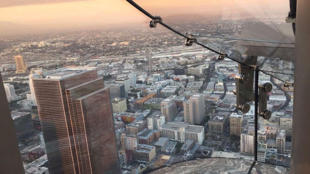 The LA Skyline from the Skyslide on the 70th floor