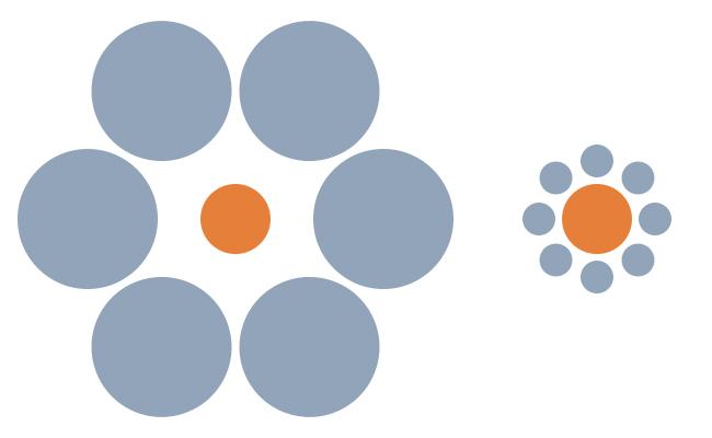 2_Ψευδαίσθηση_Ποιος πορτοκαλί κύκλος είναι μεγαλύτερος