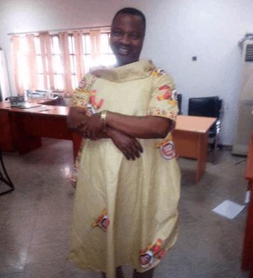 AIT staff, Gbenga Aruleba rocks female oufit