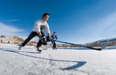 Tourism photo shoot of Pond hockey at McGowan Park in Kamloops