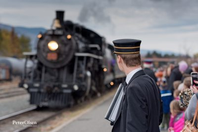 The Conductor awaits the arrival of the Kamloops Heritage Railway's 2141 Steam Locomotive in the River City