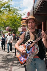Musician entertaining residents in downtown Kamloops, BC