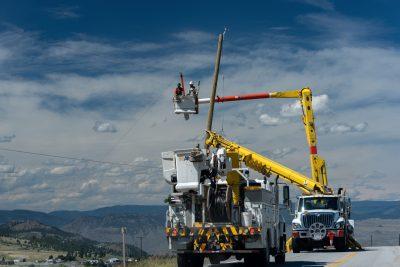 Industrial photoshoot of powerline installations