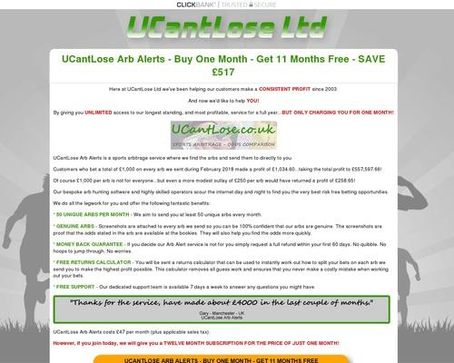 UCantLose Ltd – Arb Alerts – Monthly Subscription