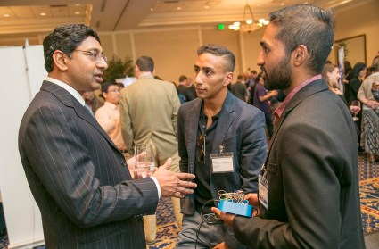 Ravi Bellamkinda chats with Duke alums and members of the local community